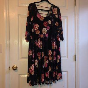 Torrid 2x black floral skater dress